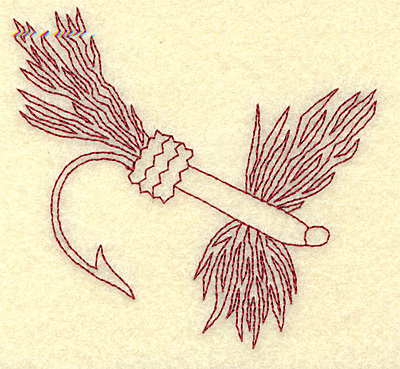 Embroidery Design: Fishing lure C redwork 3.89w X 3.61h