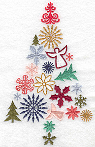 Embroidery Design: Christmas tree fully decorated 4.33w X 6.99h