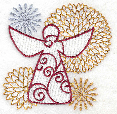 Embroidery Design: Angel with flowers and stars small 3.79w X 3.82h