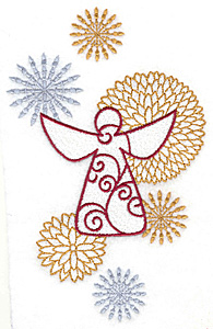 Embroidery Design: Angel with flowers and stars large 4.36w X 6.93h