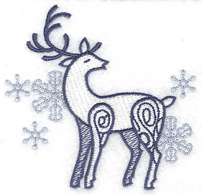 Embroidery Design: Reindeer with snowflakes small 3.89w X 3.74h