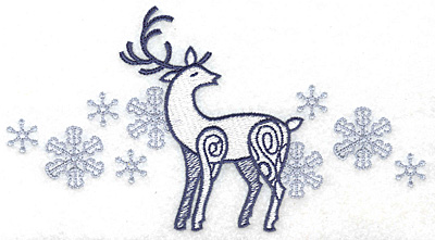 Embroidery Design: Reindeer with snowflakes large 6.95w X 3.74h