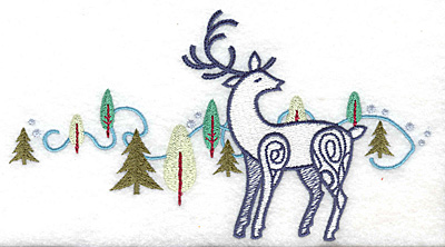 Embroidery Design: Reindeer and trees large 6.90w X 3.74h