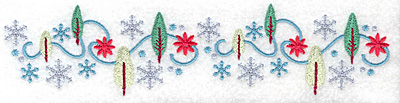 Embroidery Design: Snowflakes and trees large 7.69w X 1.82h