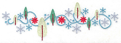 Embroidery Design: Snowflakes and trees medium 6.97w X 2.32h