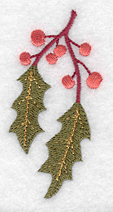 Embroidery Design: Holly branch 1.48w X 3.07h