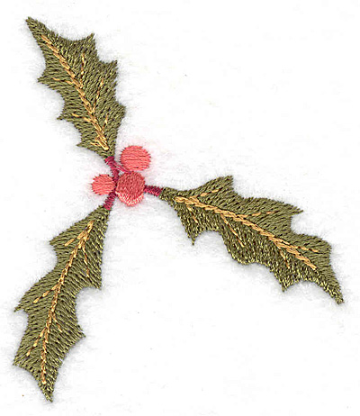 Embroidery Design: Holly and berries 2.47w X 2.86h