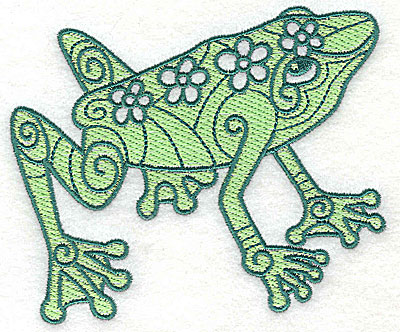 Embroidery Design: Frog 2 with solid fill 4.56w X 3.88h