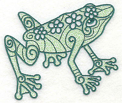 Embroidery Design: Frog 2 with motif fill 4.56w X 3.88h