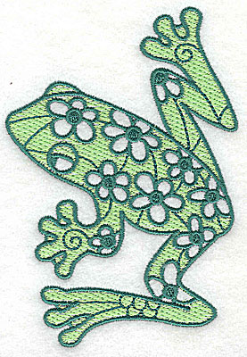 Embroidery Design: Frog 3 with solid fill 3.31w X 4.88h