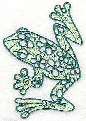 Embroidery Design: Frog 3 with motif fill 3.31w X 4.88h