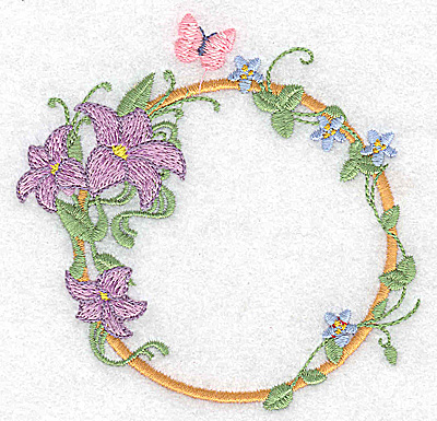 Embroidery Design: Lilies and butterfly circular 3.88w X 3.74h