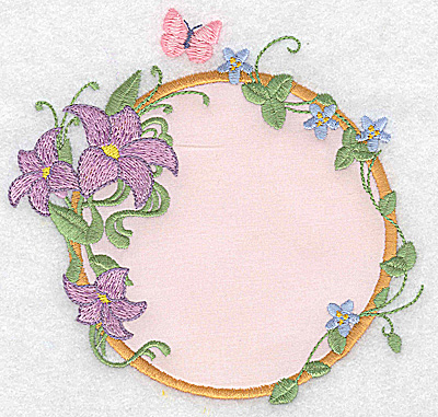 Embroidery Design: Lilies and butterfly applique 4.99w X 4.79h