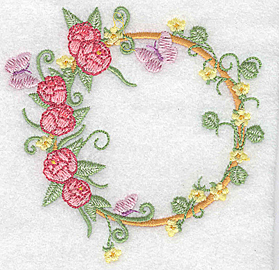 Embroidery Design: Peonies and butterflies circular 3.89w X 3.86h