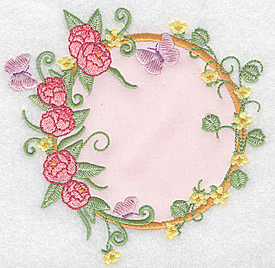Embroidery Design: Peonies and butterflies applique 4.99w X 4.94h