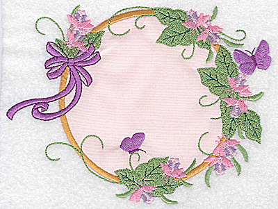 Embroidery Design: Ribbons butterflies and flowers applique 6.30w X 4.96h