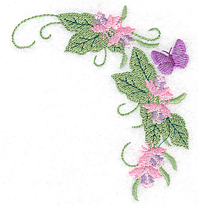 Embroidery Design: Butterfly amid blossoms 3.50w X 3.87h