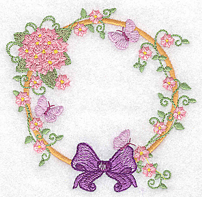 Embroidery Design: Hydrangea bow and butterflies 3.88w X 3.81h