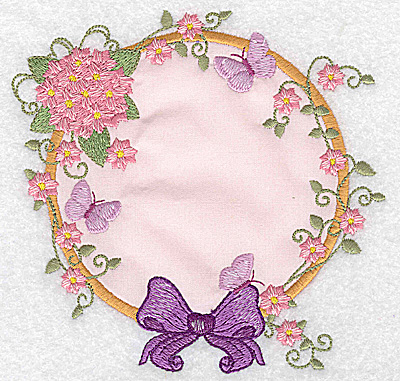 Embroidery Design: Hydrangea bow and butterflies applique 5.04w X 4.95h