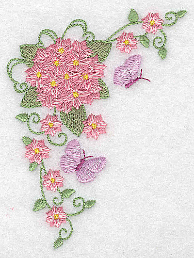 Embroidery Design: Hydrangea and butterflies 2.85w X 3.87h