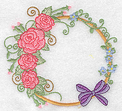Embroidery Design: Roses and bow 3.89w X 3.52h