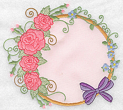 Embroidery Design: Roses and bow applique 5.46w X 4.92h