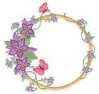 Embroidery Design: Flowers and butterflies circular 3.86w X 3.73h