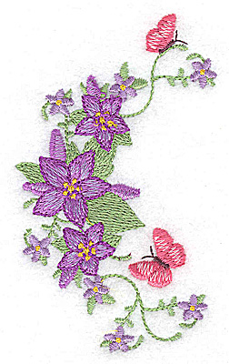 Embroidery Design: Flowers and butterlies 2.40w X 3.87h