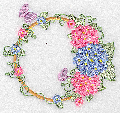 Embroidery Design: Hydrangea butterflies and blossoms  3.88w X 3.61h