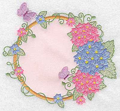 Embroidery Design: Hydrangea butterflies and blossoms applique 5.28w X 4.91h