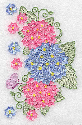 Embroidery Design: Hydrangea and butterfly 2.39w X 3.82h