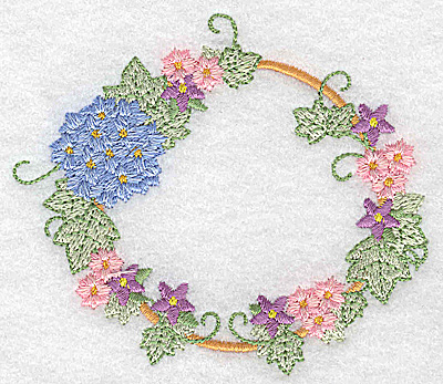 Embroidery Design: Hydrangea and blossoms circular 3.87w X 3.32h