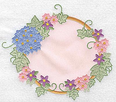 Embroidery Design: Hydrangea and blossoms applique 5.79w X 4.98h