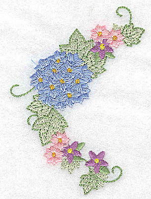 Embroidery Design: Hydrangea and blossoms 2.72w X 3.88h