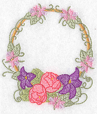Embroidery Design: Lilies and peonies circular 3.87w X 3.41h