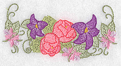 Embroidery Design: Lilies and peonies  1.96w X 3.89h