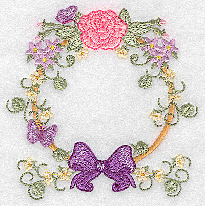 Embroidery Design: Rose bow and butterflies circular 3.83w X 3.88h