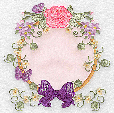 Embroidery Design: Rose bow and butterflies applique  4.86w X 4.93h