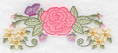 Embroidery Design: Rose and butterfly 3.88w X 1.65h