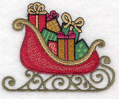 """Embroidery Design: Sleigh with gifts 3.50""""w X 2.78""""h"""