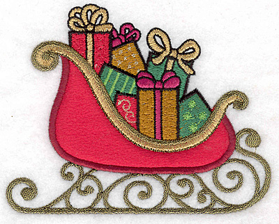 """Embroidery Design: Sleigh with gifts applique 5.00""""w X 3.99""""h"""