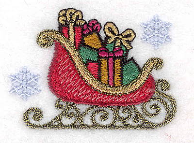 """Embroidery Design: Sleigh small with snowflakes 2.30""""w X 1.68""""h"""