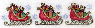 "Embroidery Design: Sleigh border 6.89""w X 1.68""h"