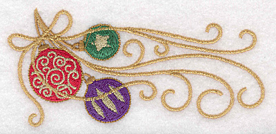 """Embroidery Design: Ornaments with ribbon 5.00""""w X 2.32""""h"""