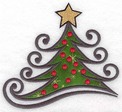 """Embroidery Design: Christmas tree large applique 5.40""""w X 5.00""""h"""