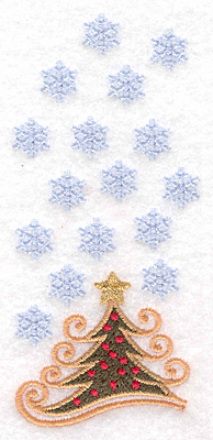"""Embroidery Design: Christmas tree with snowflakes A 2.17""""w X 4.79""""h"""