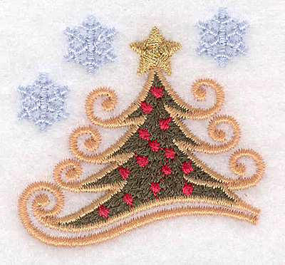 """Embroidery Design: Christmas tree with snowflakes B 2.01""""w X 1.95""""h"""