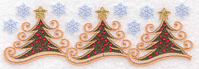 "Embroidery Design: Christmas tree border 5.79""w X 1.96""h"