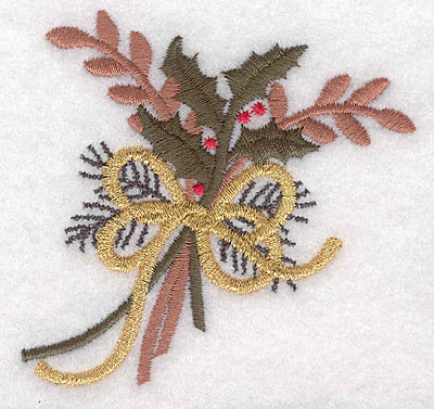 """Embroidery Design: Holly decoration large 3.05""""w X 2.91""""h"""