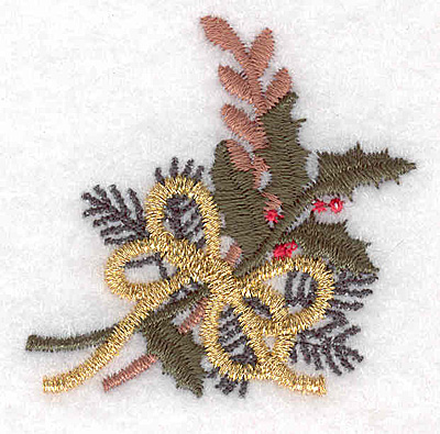 """Embroidery Design: Holly decoration A 1.83""""w X 1.80""""h"""
